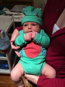 Nephew in his frog outfit.