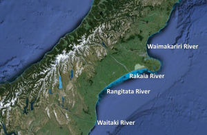 Straight line rivers. Google Earth close-up of the South Island of New Zealand, showing the (relatively) straight run of rivers as they head to the Pacific Ocean.